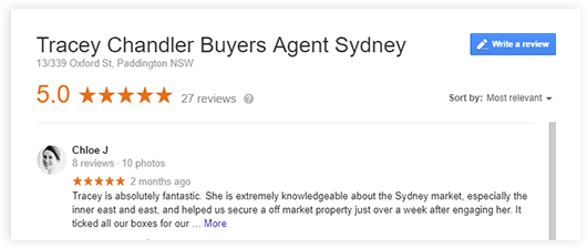 Tracey Chandler Buyers Agent Sydney Google Reviews