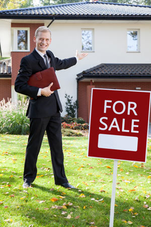 real estate agent selling a house